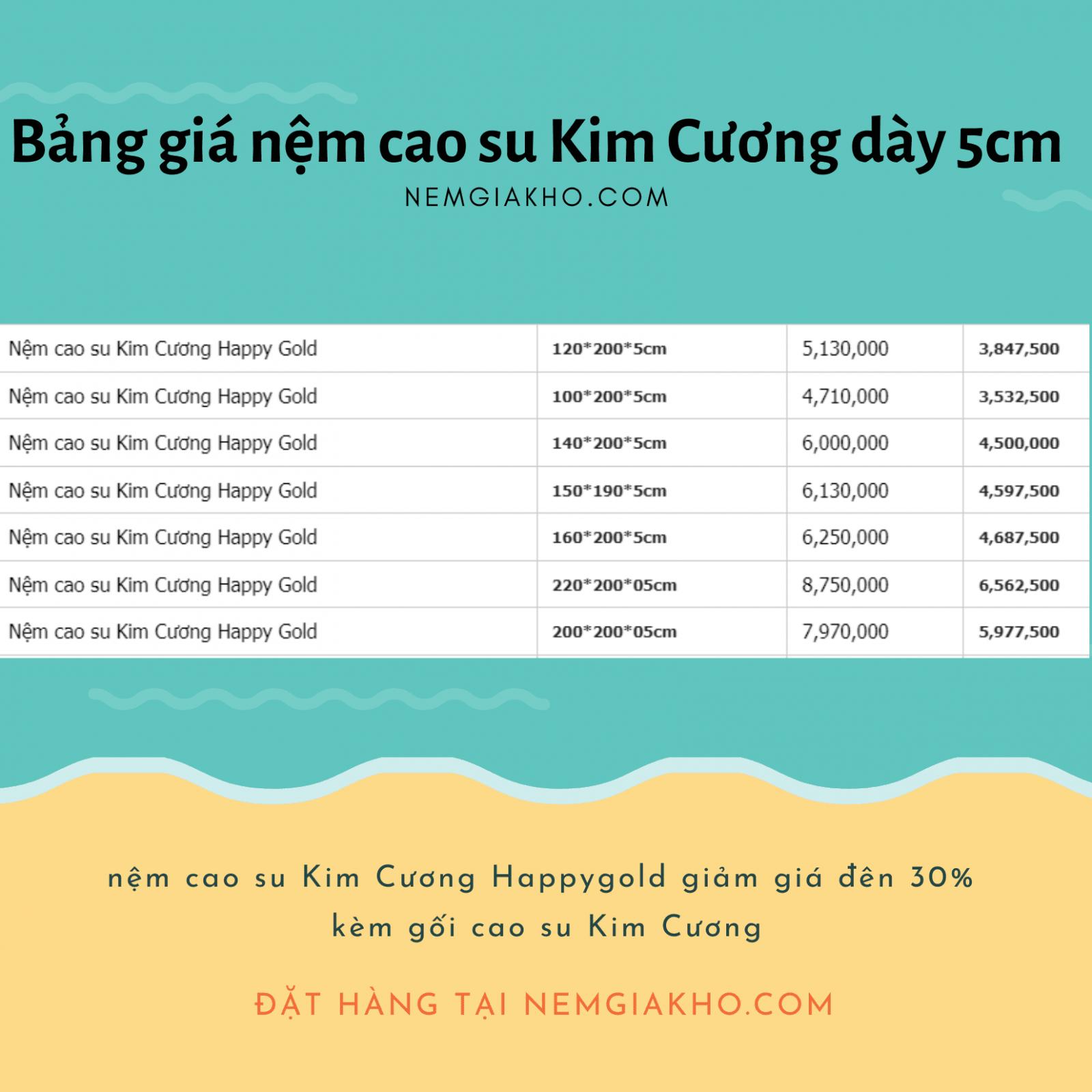 nem cao su kim cuong happy gold 5cm